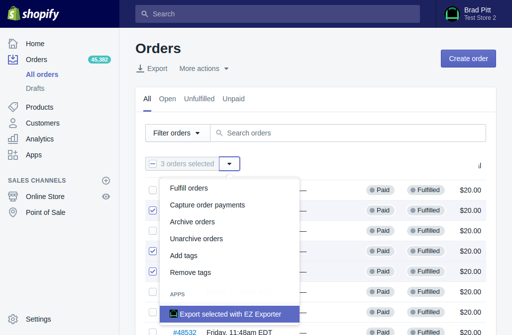 Export Selected Orders Products Or Customers From The Shopify - Shopify csv template