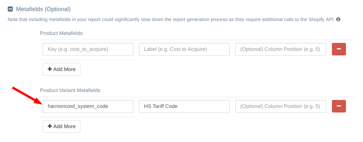 How do I export the HS Tariff Code data attached to my product