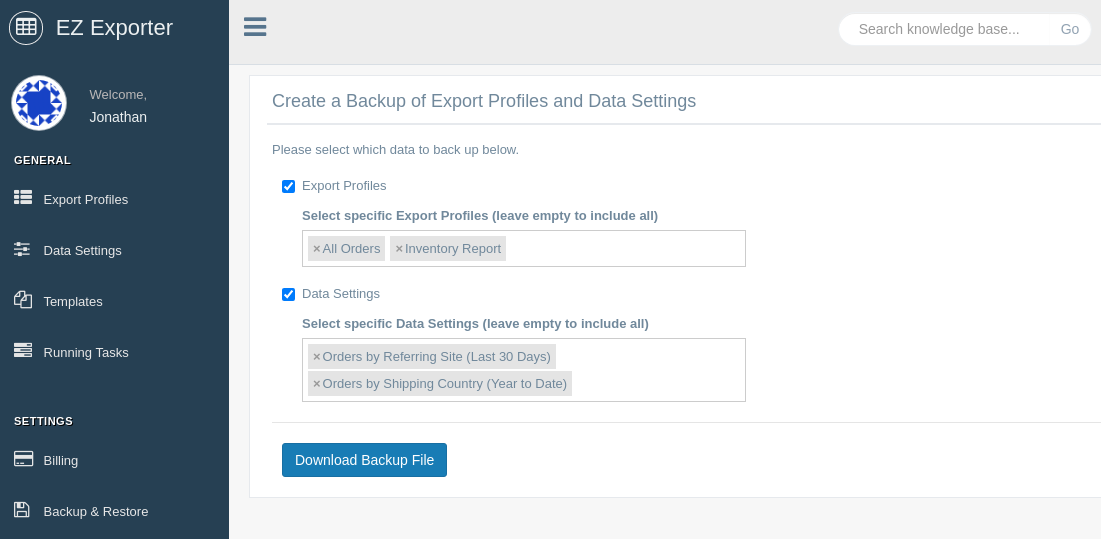 Back up specific Export Profiles and Data Settings