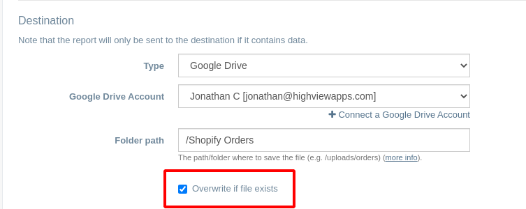 Export Shopify Orders to Google Drive