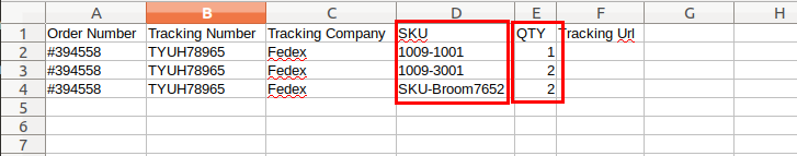 CSV with same tracking numbers