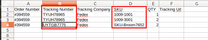 CSV file with different tracking numbers