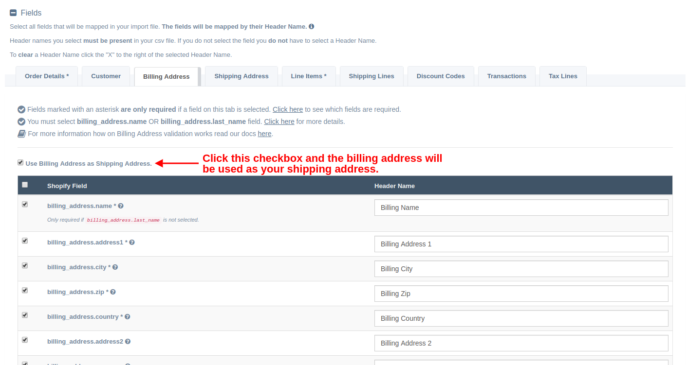 Use Billing Address as Shipping Address checkbox
