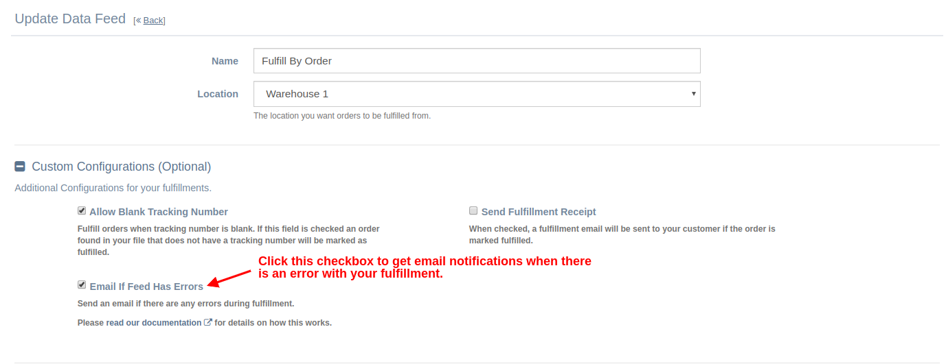 Configure Data Feed To Send Email Notifications
