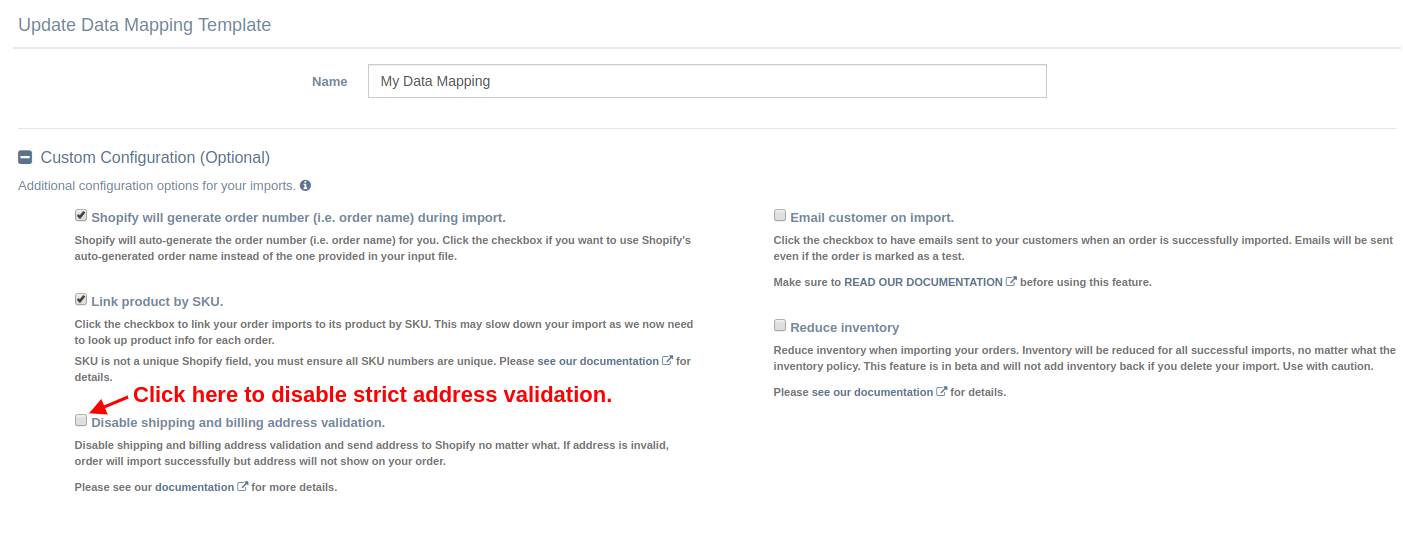 Disable Address Validation on Data Mapping