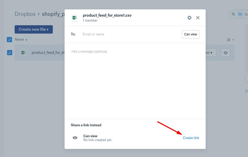 Dropbox create link