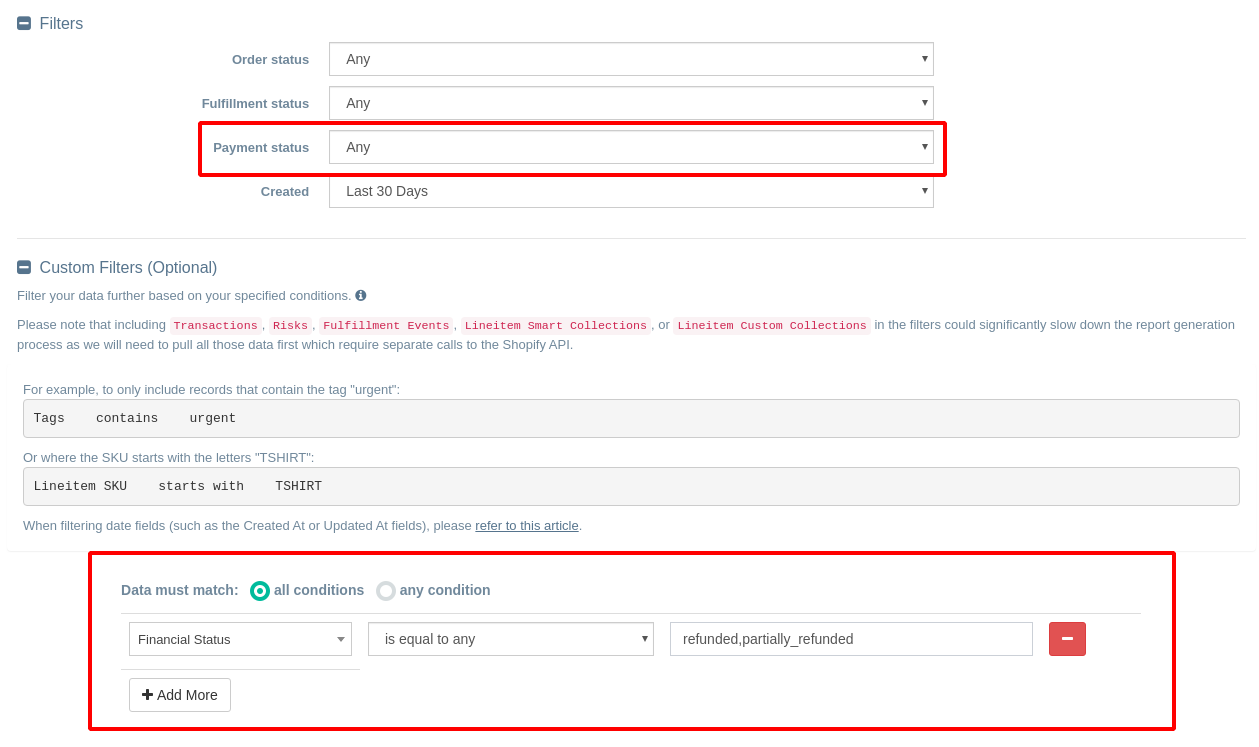 Export Shopify Refunded or Partially Refunded Orders to CSV