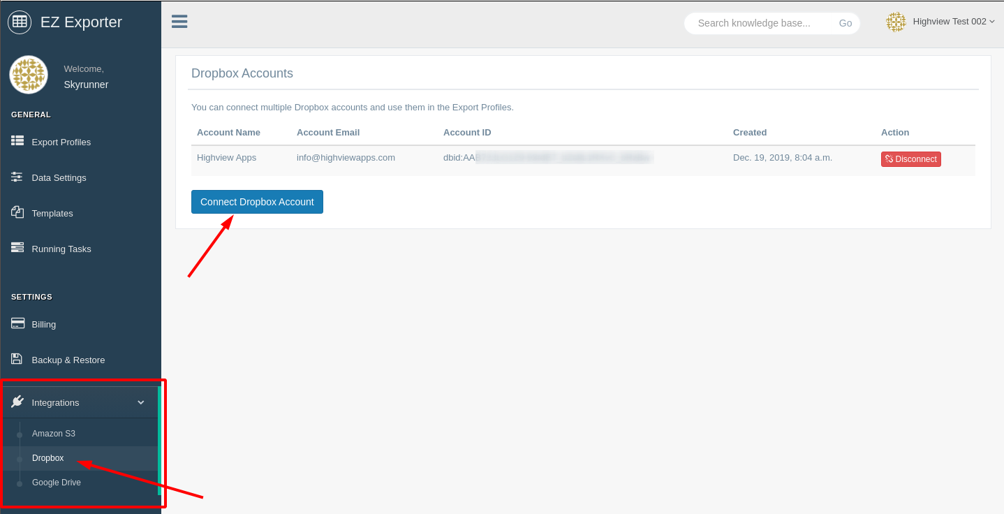 Connect Dropbox account to EZ Exporter for automated Shopify data export