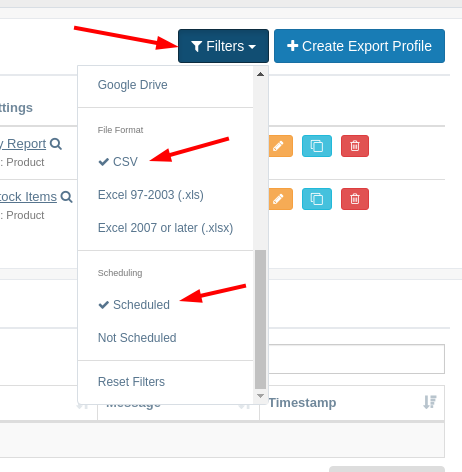 EZ Exporter - Filter Export Profile Listing