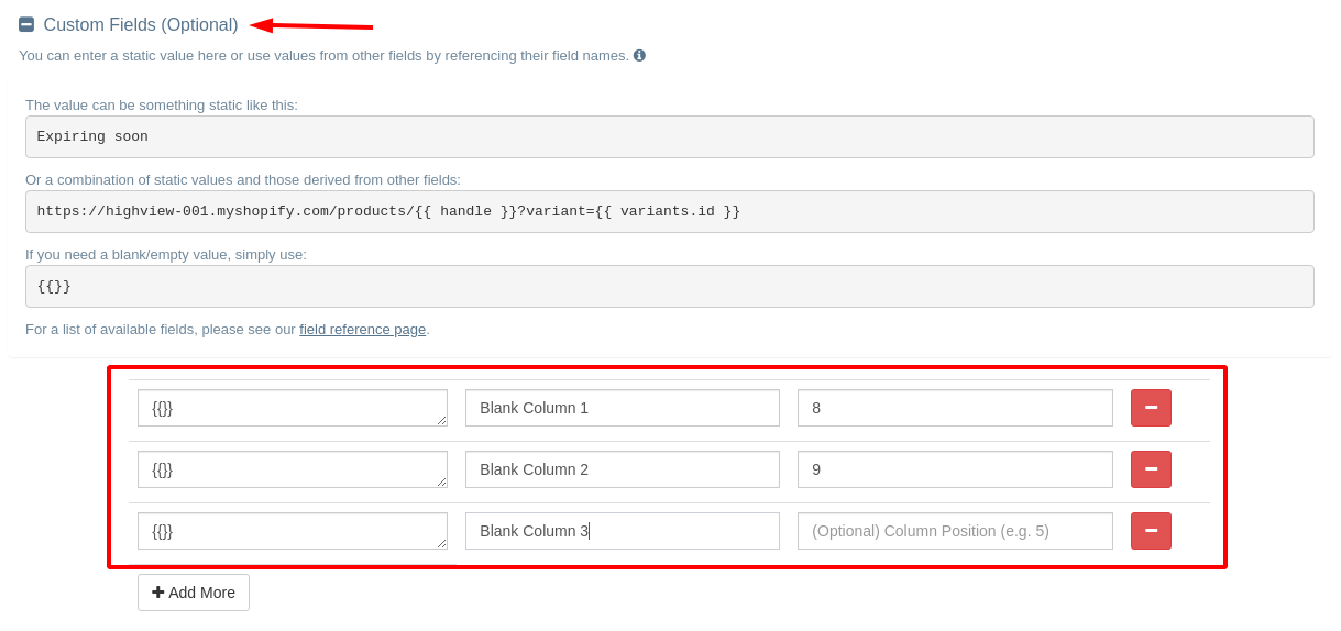 Add blank columns to your Shopify CSV export.