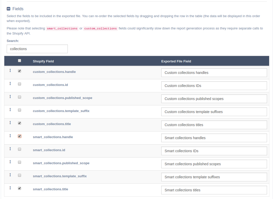 EZ Exporter - Shopify Collections Fields