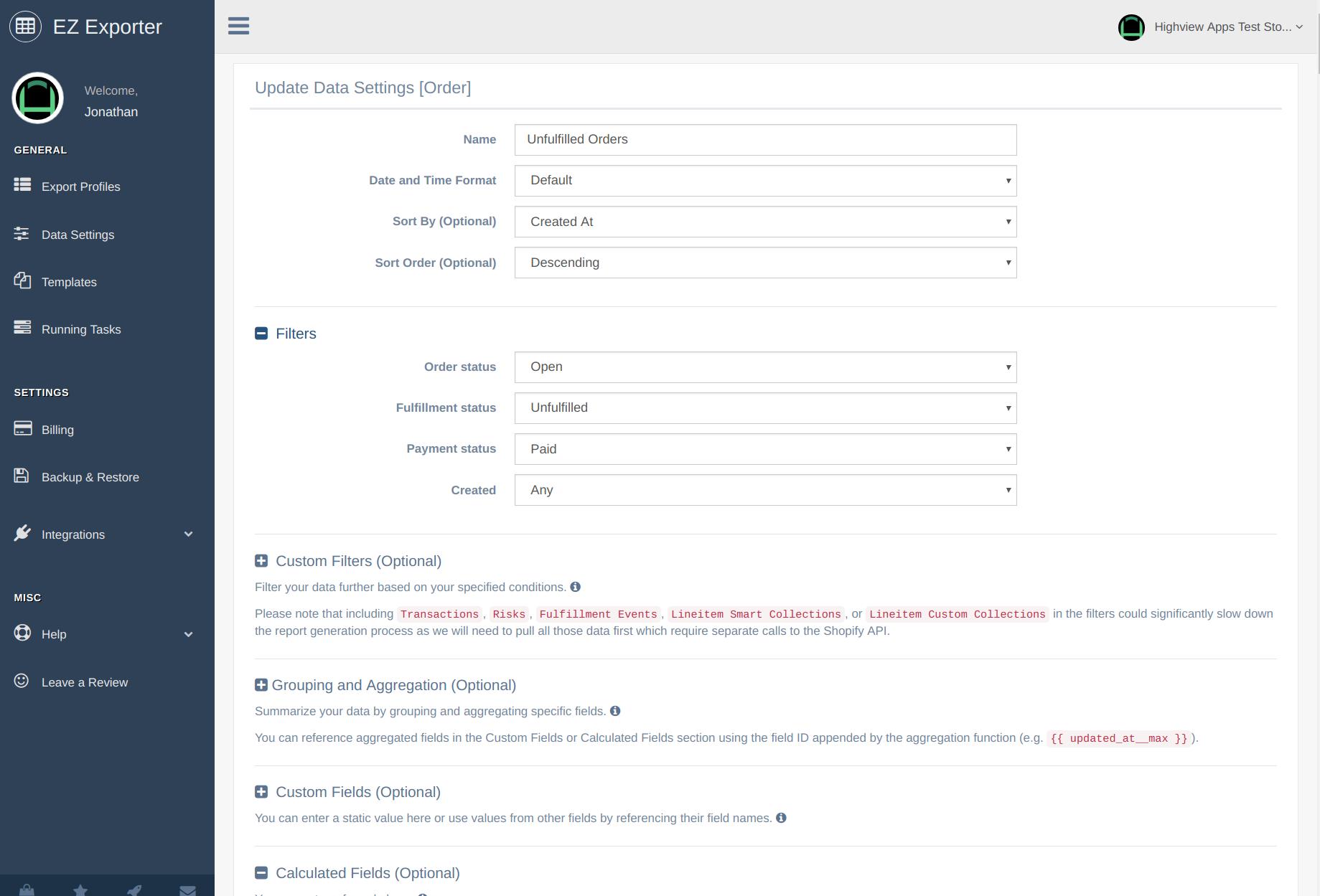 EZ Exporter - Shopify Data Exporter App - Data Settings