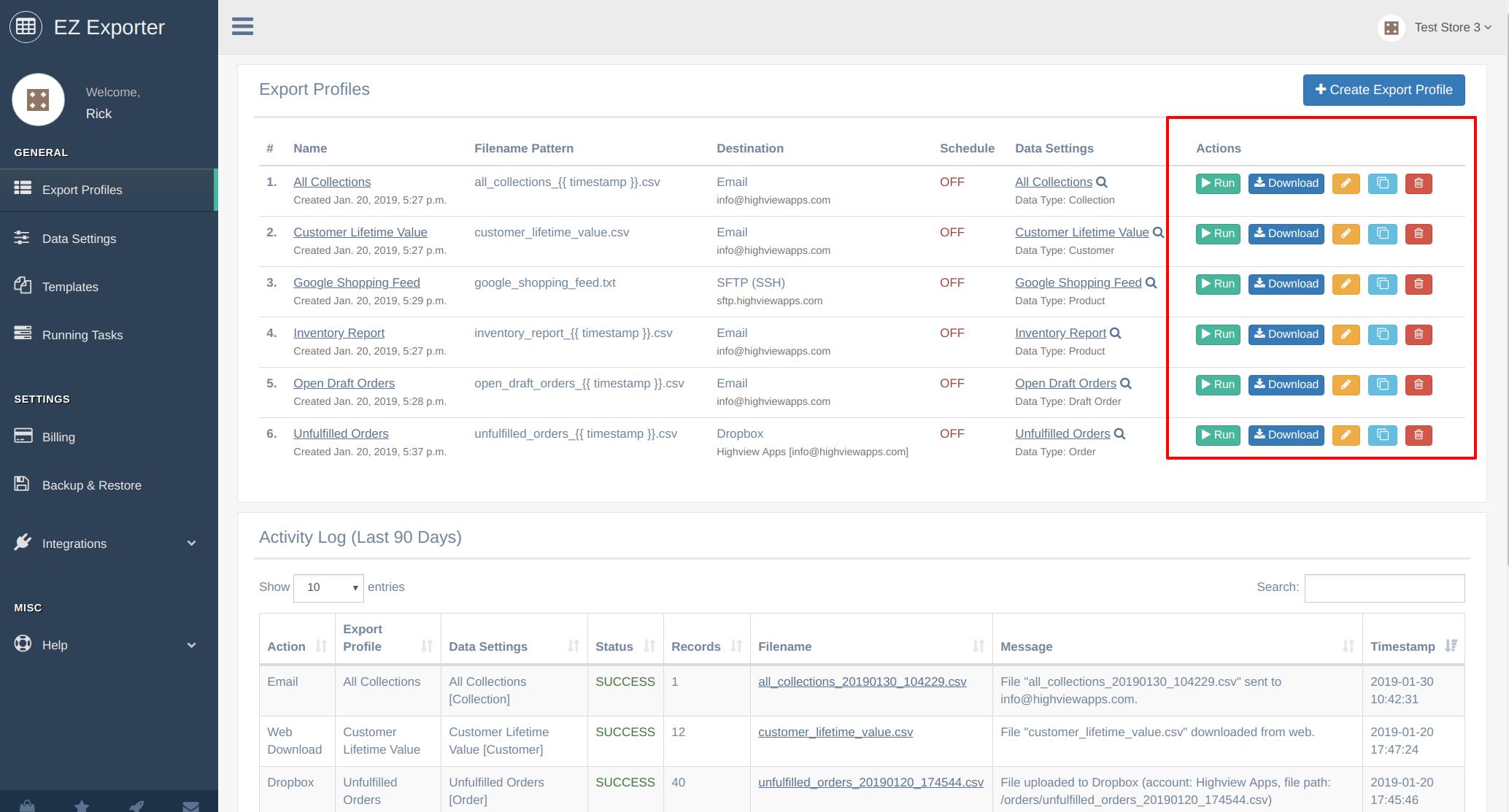 EZ Exporter - Shopify Data Exporter App - Export Profile Actions