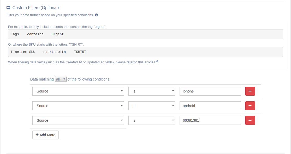 EZ Exporter Shopify App - Custom Filters - Source