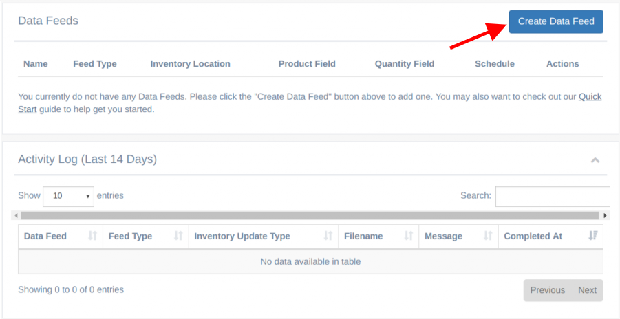 EZ Inventory Shopify App - Create Data Feed