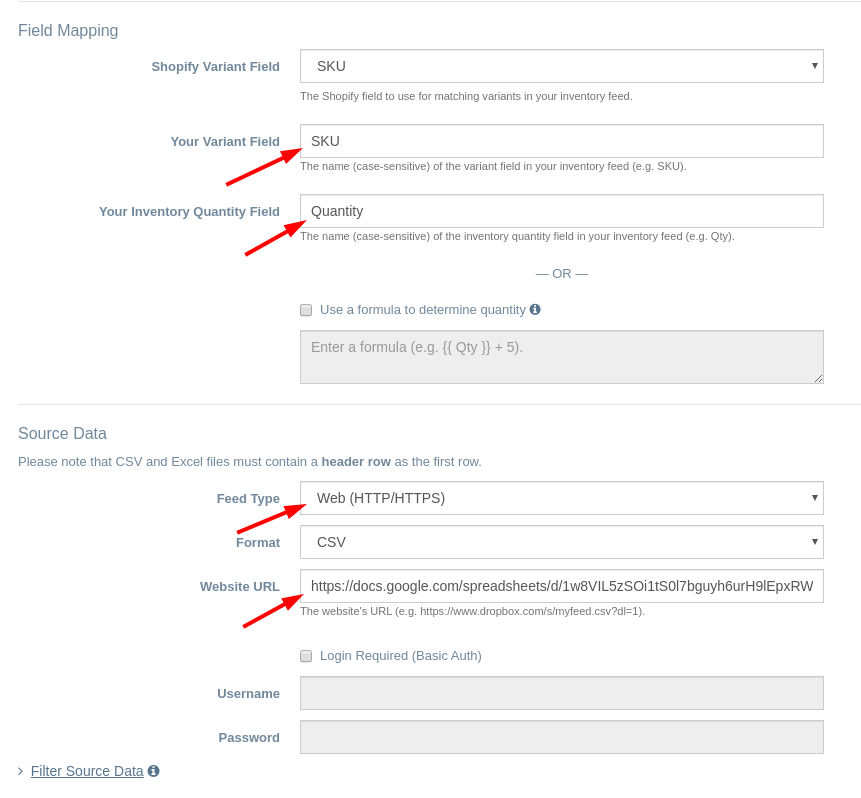 EZ Inventory Data Feed Settings