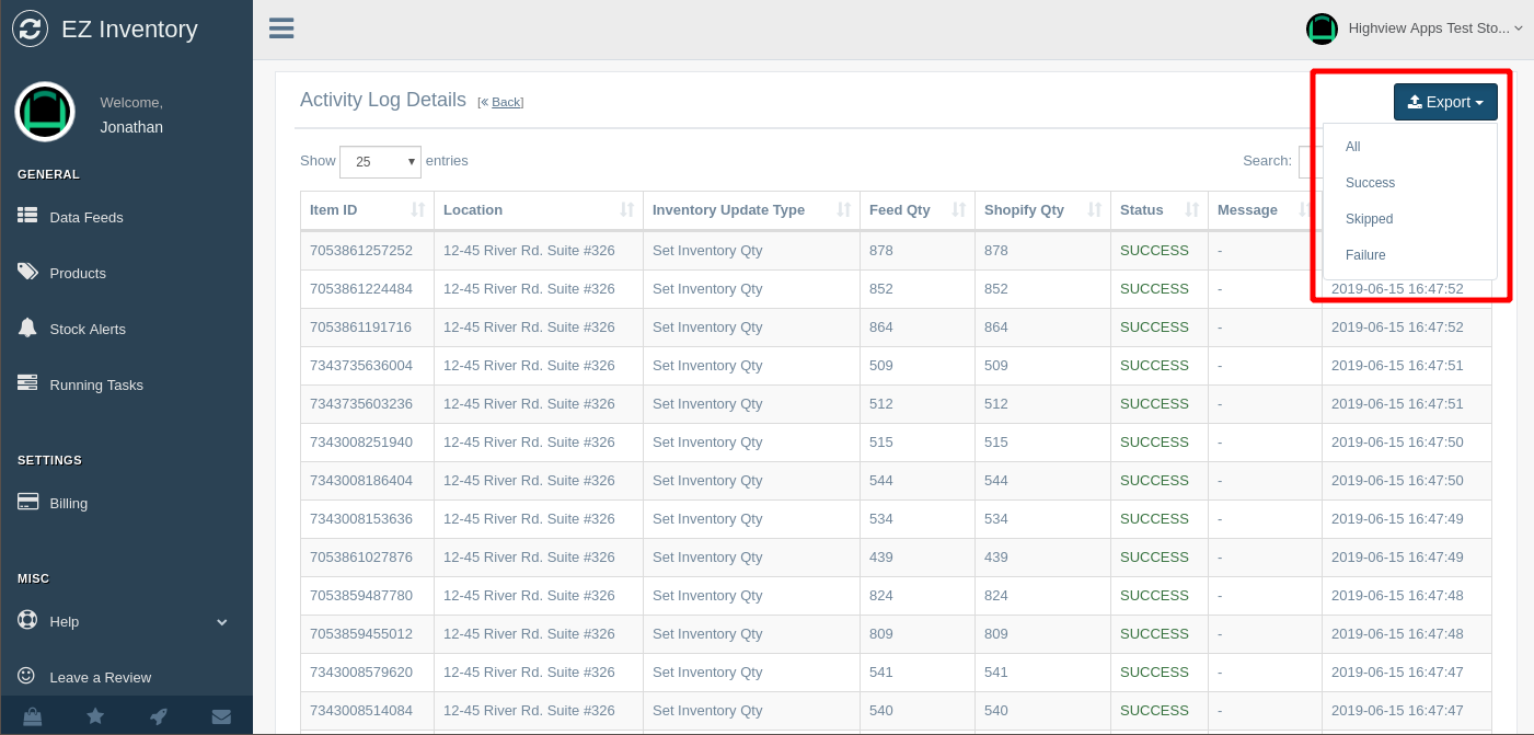 EZ Inventory for Shopify - Export details of inventory quantity updates