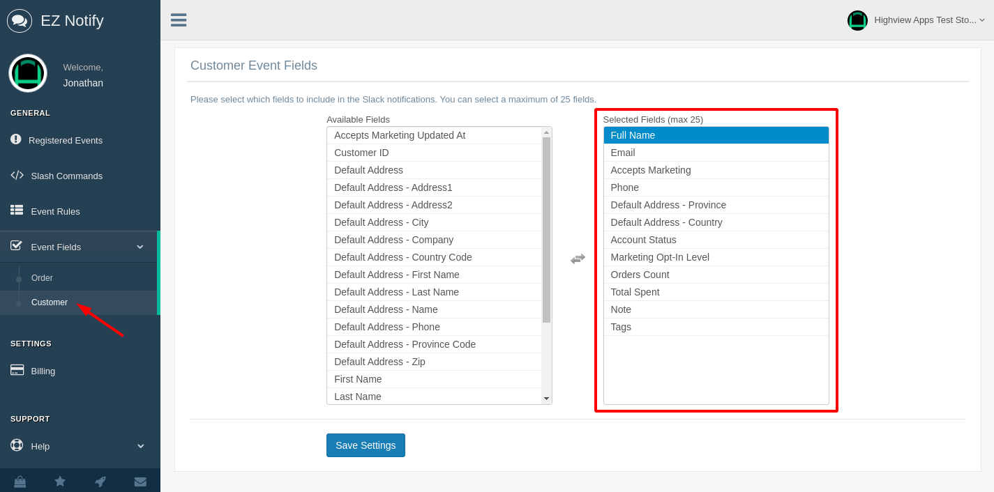 EZ Notify Shopify App - Customize Slack Notification Message for Customer Events