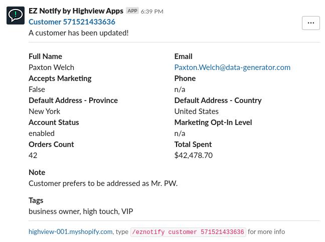 EZ Notify for Shopify - Custom Slack Message for Customer Events