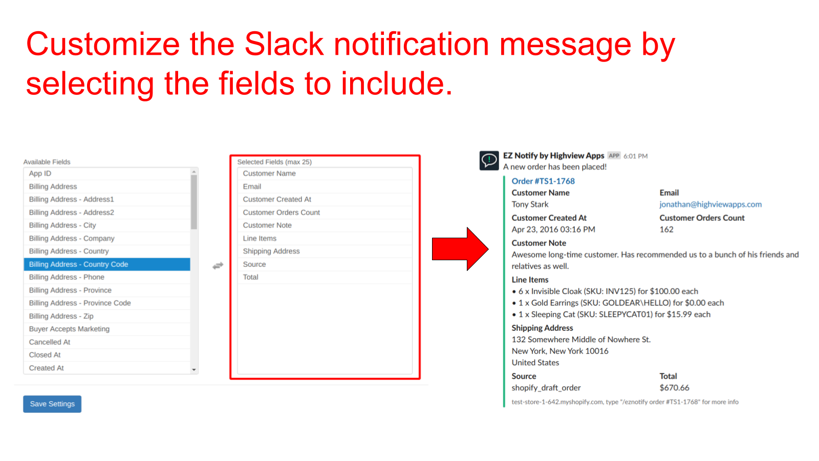 EZ Notify - Shopify Slack Integration - Custom Slack Notification Message