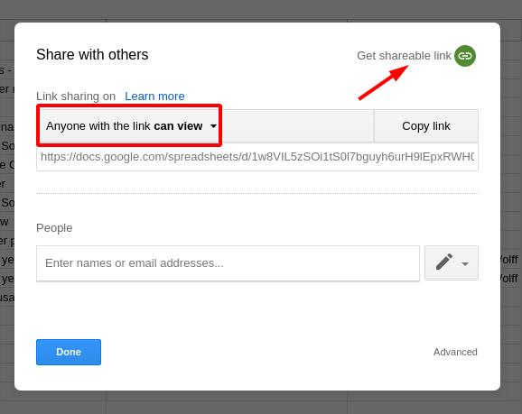 Google Sheets sharing settings