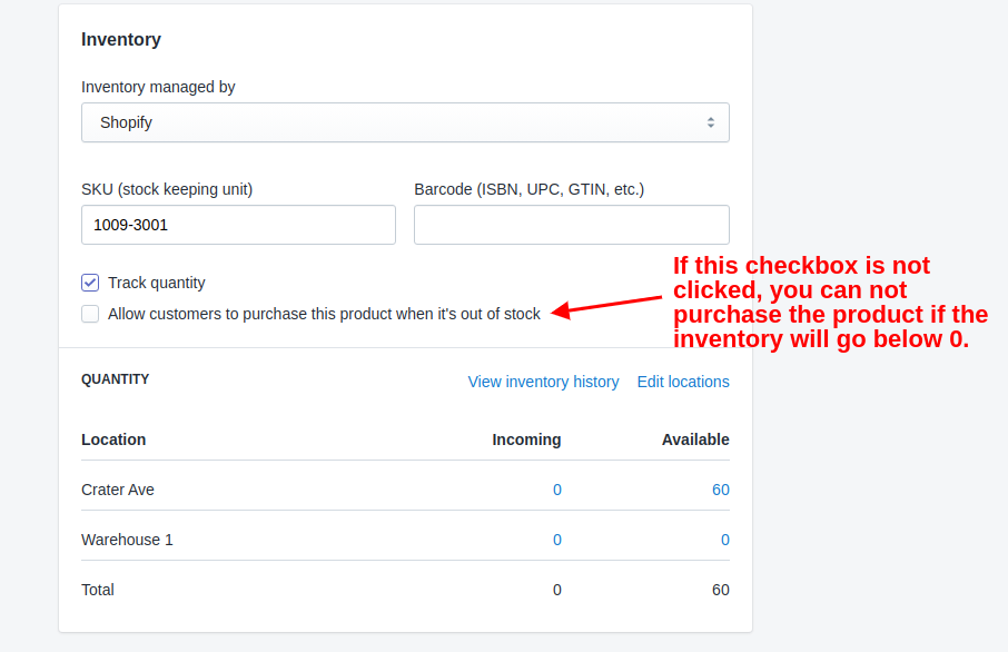Purchase if out of stock Shopify option.