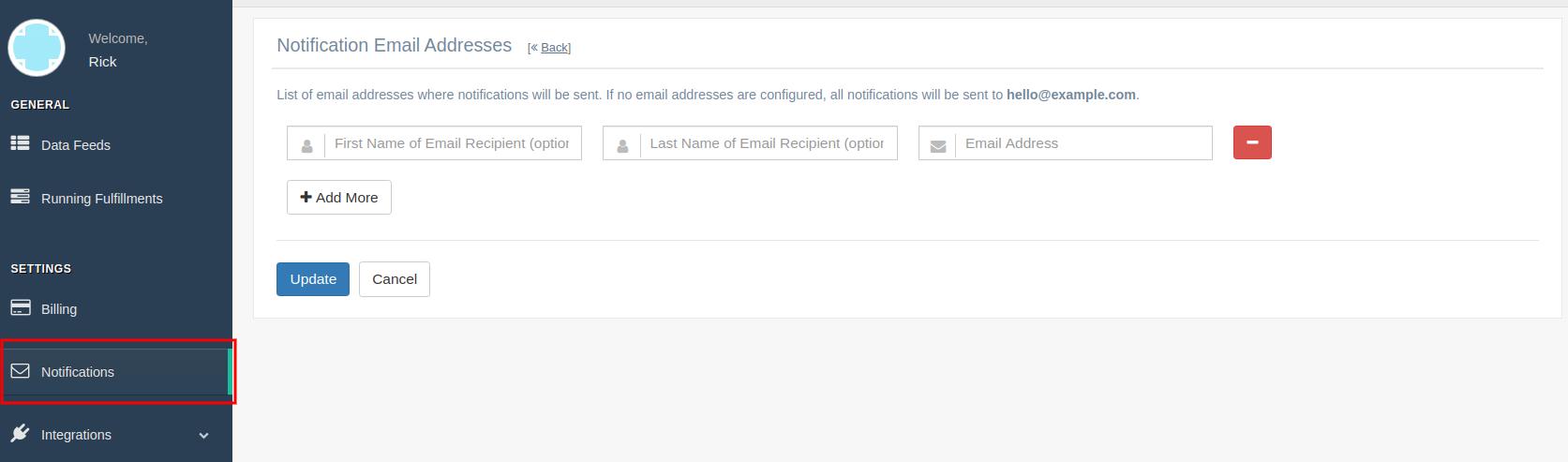 Configure Customer Email Addresses