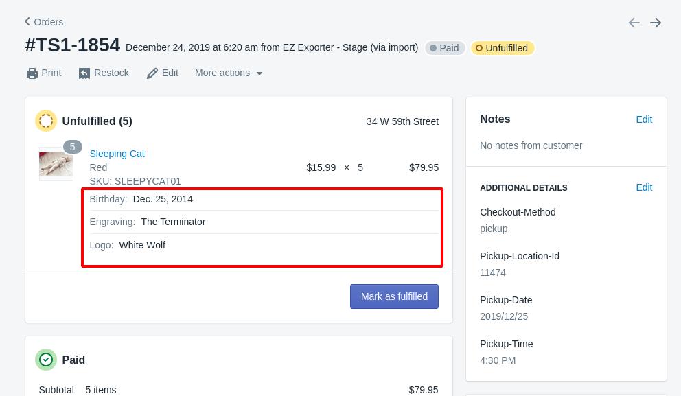 Shopify Admin - Order Detail - Line Item Properties