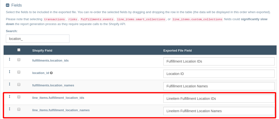 Export fulfillment locations at the line item level from your Shopify order data with EZ Exporter