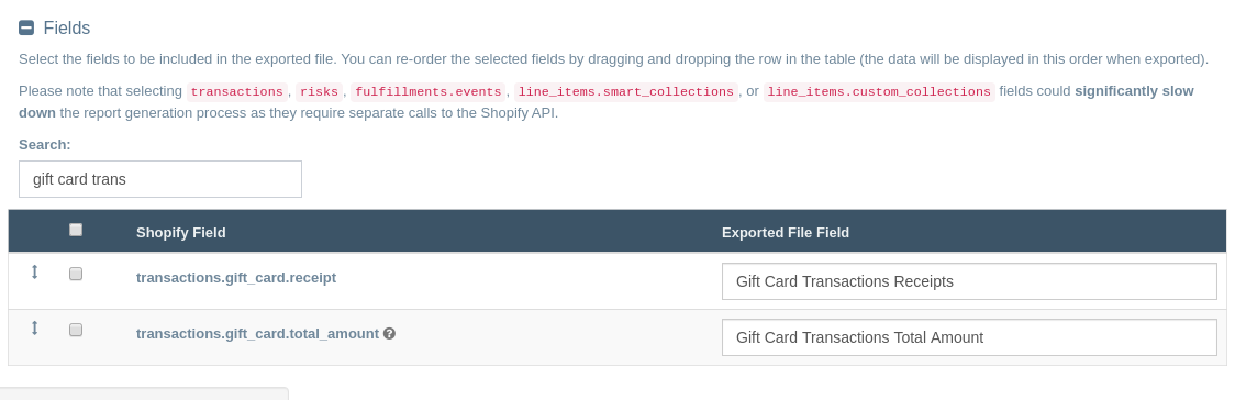 Export Shopify Gift Card Transactions