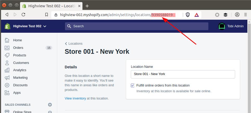 Shopify Admin - Location ID in URL