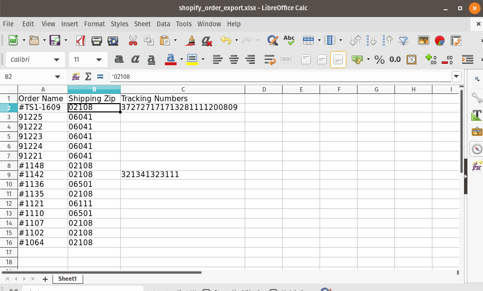 Shopify Order Export to Excel XLSX