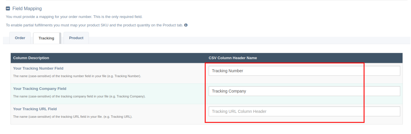 Mapping Tracking Number, Company and URL