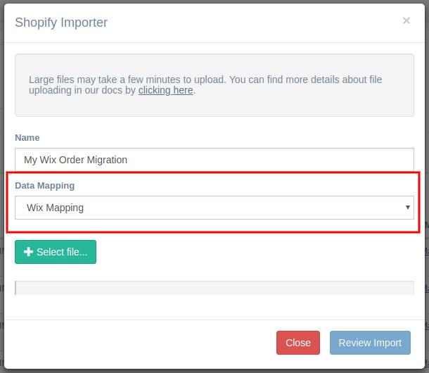 Wix Import Dialog Box